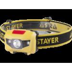 Фонарь STAYER MASTER налобный светодиодный, 1Вт(80Лм)+2LED, 4 режима,  3ААА