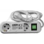 Удлинитель СИБИН электрический, ПВС сечение 0,75кв мм, 3 гнезда, макс мощн 2200Вт, 2м, заземление, выключатель
