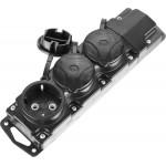 Колодка СИБИН для удлинителя, 3 гнезда, заземление, защитные крышки, IP44, макс мощность 3500Вт