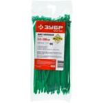 Кабельные стяжки зеленые КС-З1, 3.6 x 200 мм, 100 шт, нейлоновые, ЗУБР
