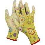 Перчатки GRINDA садовые, прозрачное PU покрытие, 13 класс вязки, зеленые, размер L