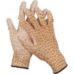 Перчатки GRINDA садовые, прозрачное PU покрытие, 13 класс вязки, коричневые, размер L
